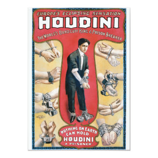 Vintage Houdini Handcuff King Advertising Poster Card