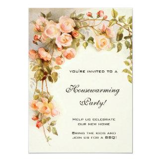 Vintage Housewarming, Antique Pink Rose Flowers 13 Cm X 18 Cm Invitation Card
