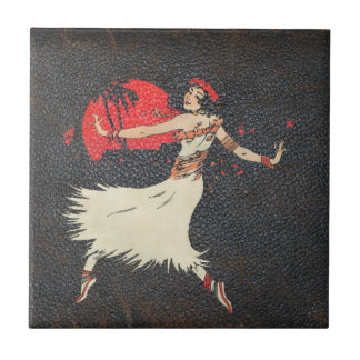 Vintage Hula Dancer | Retro Hawaiian Girl Ceramic Tile