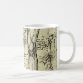 Vintage Human Anatomy Larynx Leg Leonardo da Vinci Coffee Mug
