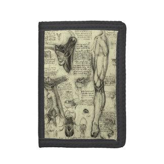 Vintage Human Anatomy Larynx Leg Leonardo da Vinci Tri-fold Wallet