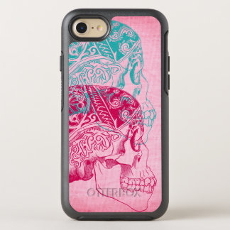 Vintage Human Skull Tattoo Turquoise Pink Fuchsia OtterBox Symmetry iPhone 7 Case