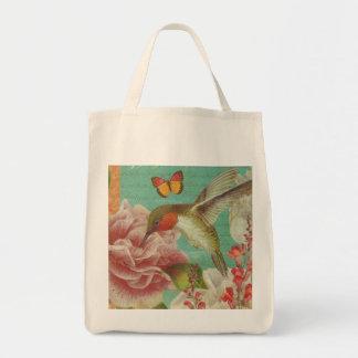 Vintage Hummingbird Collage Grocery Tote
