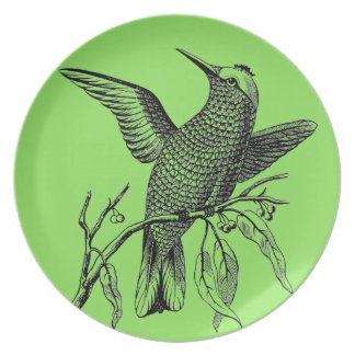 Vintage Hummingbird Sage Green Plates