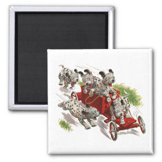 Vintage Humor, Dalmatian Puppy Dogs Fire Truck Square Magnet
