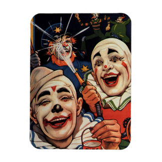 Vintage Humor, Laughing Circus Clowns and Police Rectangular Photo Magnet