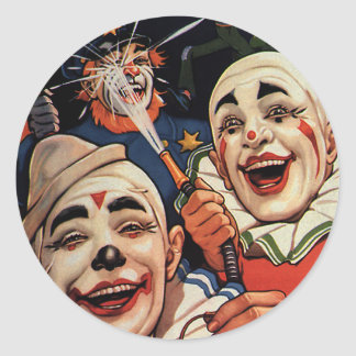 Vintage Humor, Laughing Circus Clowns and Police Round Sticker