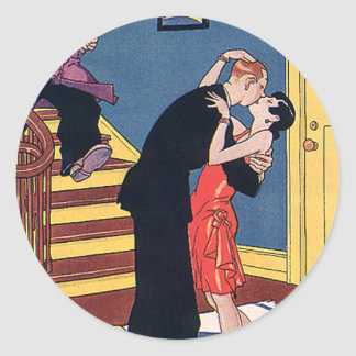 Vintage Humor, Love and Romance, Late Night Kiss Round Sticker