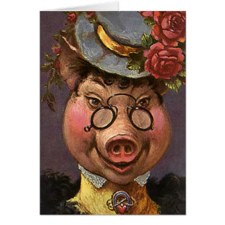 Vintage Humor, Silly and Funny Victorian Lady Pig Card