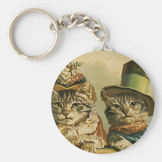 Vintage Humor, Victorian Bride Groom Cats in Hats Key Ring