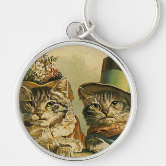 Vintage Humor, Victorian Bride Groom Cats in Hats Silver-Colored Round Key Ring