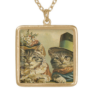 Vintage Humor, Victorian Bride Groom Cats in Hats Square Pendant Necklace