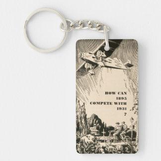 Vintage Humorous Ad Plane Tandem Bicycle Man Woman Key Ring