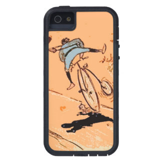 Vintage Humorous Man Bicycle Ride Fall Cat Orange Case For The iPhone 5