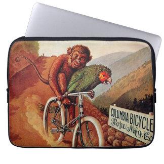 Vintage Humorous Monkey Parrot Bicycle Ride Computer Sleeves