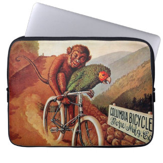Vintage Humorous Monkey Parrot Bicycle Ride Laptop Sleeve