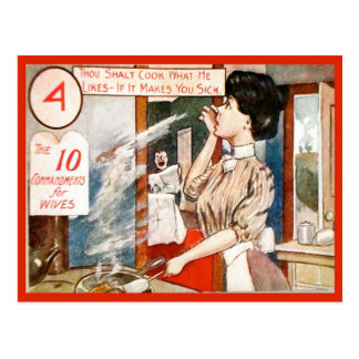 Vintage  Humour, 10 commandments for wives Postcard