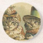 Vintage Humour, Victorian Bride Groom Cats in Hats Coasters