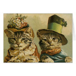 Vintage Humour, Victorian Bride Groom Cats in Hats Note Card