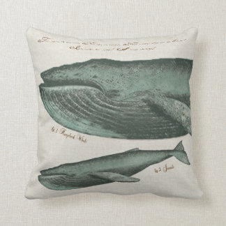 Vintage Humpback whale and calf Throw Pillow