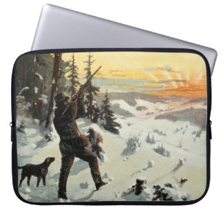Vintage Hunter Dog Gun Snow Laptop Computer Sleeve