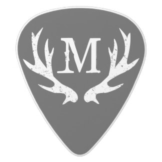 Vintage hunting deer antler monogram guitar picks