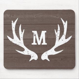 Vintage hunting deer antlers monogram mouse pad