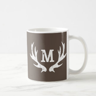 Vintage hunting deer monogram antlers travel mug