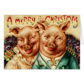 Vintage Husband And Wife Pig Couple Merry Christma Card