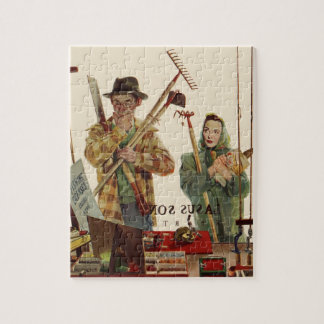 Vintage Husband and Wife with Gardening Tools Puzzle