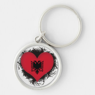 Vintage I Love Albania Silver-Colored Round Key Ring