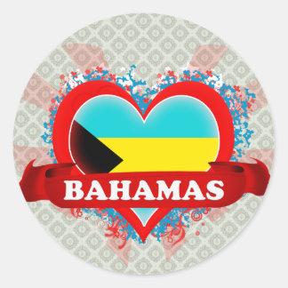 Vintage I Love Bahamas Round Sticker