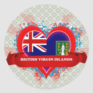 Vintage I Love British Virgin Islands Classic Round Sticker