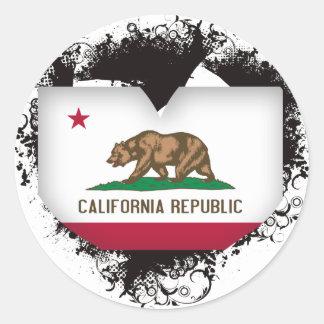 Vintage I Love California Round Sticker