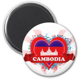 Vintage I Love Cambodia 6 Cm Round Magnet