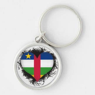Vintage I Love Central African Republic Silver-Colored Round Key Ring