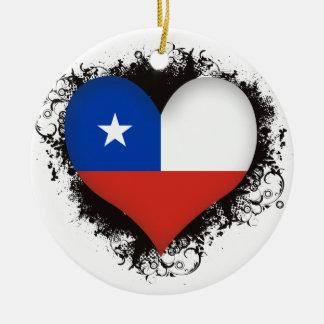 Vintage I Love Chile Round Ceramic Decoration