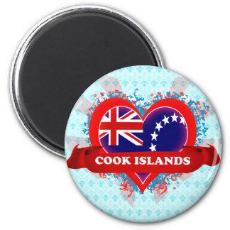 Vintage I Love Cook Islands 6 Cm Round Magnet