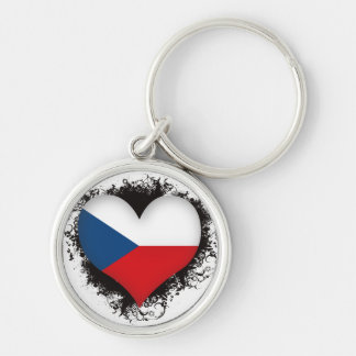 Vintage I Love Czech Republic Silver-Colored Round Key Ring