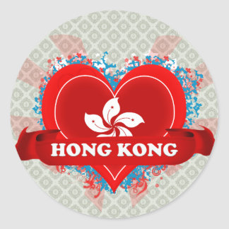Vintage I Love Hong Kong Classic Round Sticker