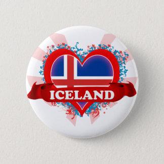 Vintage I Love Iceland 6 Cm Round Badge