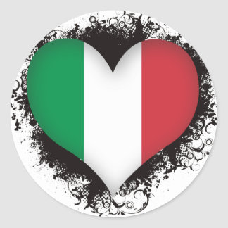 Vintage I Love Italy Classic Round Sticker