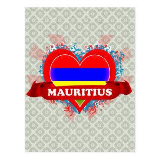 Vintage I Love Mauritius Postcard