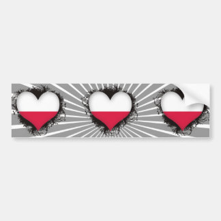 Vintage I Love Poland Bumper Sticker