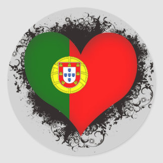 Vintage I Love Portugal Round Sticker