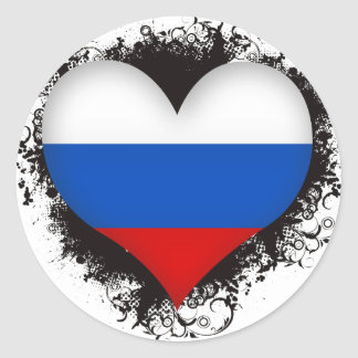 Vintage I Love Russian Federation Classic Round Sticker