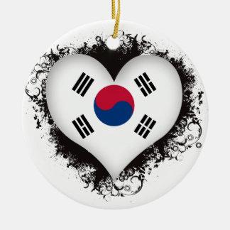 Vintage I Love South Korea Round Ceramic Decoration