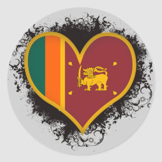 Vintage I Love Sri Lanka Classic Round Sticker