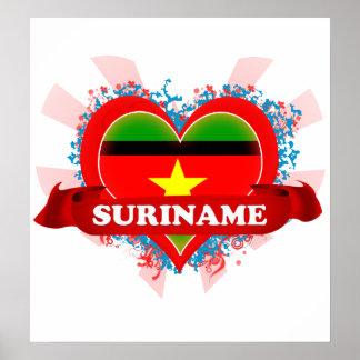 Vintage I Love Suriname Poster