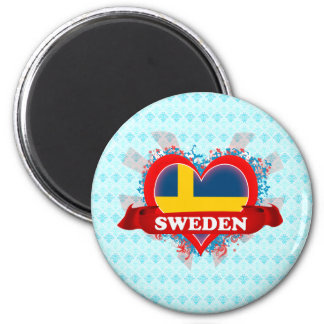 Vintage I Love Sweden Fridge Magnet